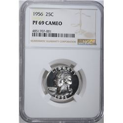 1956 WASHINGTON QUARTER, NGC PF-69 CAMEO