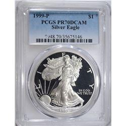 1999-P AMERICAN SILVER EAGLE, PCGS PR-70 DCAM