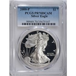 2000-P AMERICAN SILVER EAGLE, PCGS PR-70 DCAM