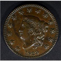 1829 LARGE CENT N-1 XF/AU NICE