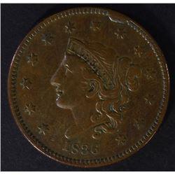 1836 LARGE CENT, rim cud, XF
