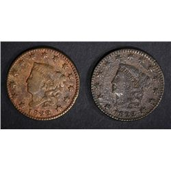 2-1822 LARGE CENTS: 1-F porous & 1- F cleaned