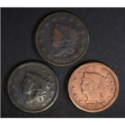 1827 VG, 1844 cleaned & 1 no date LARGE CENTS