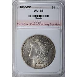 1890-CC MORGAN DOLLAR, CCGS AU/BU