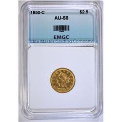1850-C $2.50 GOLD LIBERTY, EMGC AU/BU