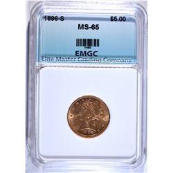 1896-S $5.00 GOLD LIBERTY, EMGC GEM BU