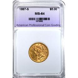 1887-S $5.00 GOLD LIBERTY, APCG CH/GEM BU