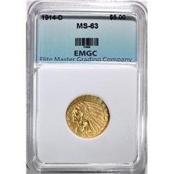 1914-D $5.00 GOLD INDIAN, EMGC CH BU