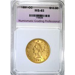 1891-CC $10.00 GOLD LIBERTY, NGP CH BU