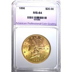 1896 $20.00 GOLD LIBERTY, APCG CH/GEM BU