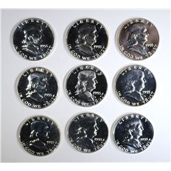9-GEM PROOF 1955 FRANKLIN HALF DOLLARS
