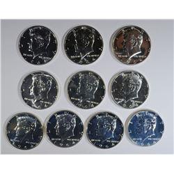10 GEM PROOF 1964 KENNEDY HALF DOLLARS