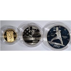U.S. MINT 1992 3 COIN OLYMPIC PROOF SET: