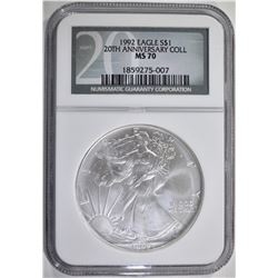 1992 AMERICAN SILVER EAGLE NGC MS 70