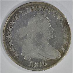 1806 DRAPED BUST HALF DOLLAR POINTED 6