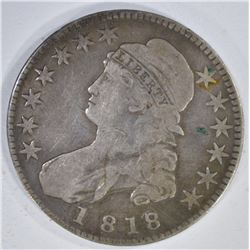 1818/7 CAPPED BUST HALF DOLLAR LARGE 8