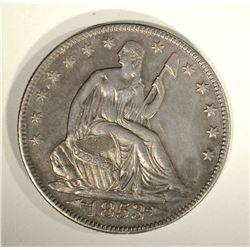 1853 ARROWS & RAYS SEATED HALF DOLLAR, AU++/BU