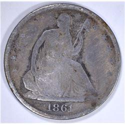 1861-O SEATED HALF DOLLAR, G/VG KEY DATE