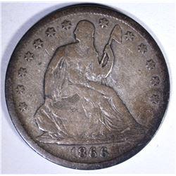 1866-S SEATED HALF DOLLAR, FINE