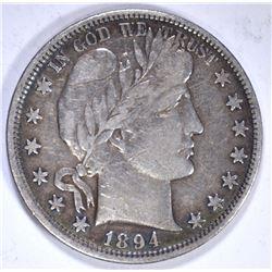 1894 BARBER HALF DOLLAR, VF