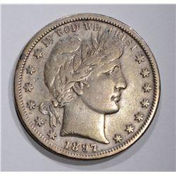 1897-S BARBER HALF DOLLAR, VF KEY COIN