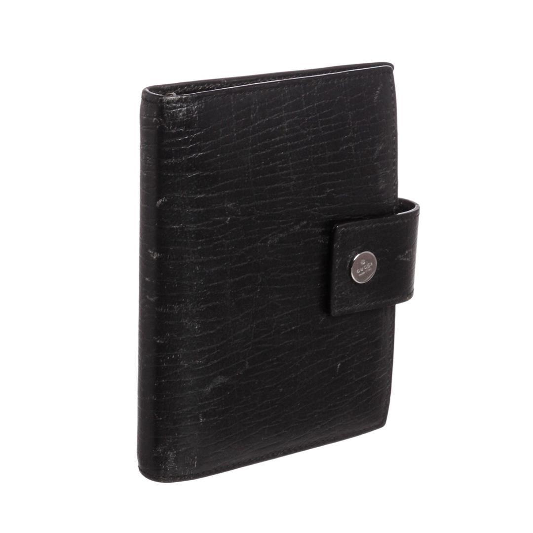 b2e8adeda Gucci Black Textured Leather Small Agenda Cover