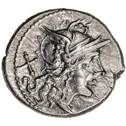 ROMAN REPUBLIC: Anonymous, ca. 211-206 BC, AR denarius (3.39g), Rome. VF