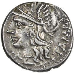 ROMAN REPUBLIC: M. Baebius Q. f. Tampilus, 137, AR denarius (3.95g), Rome. EF
