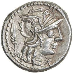 ROMAN REPUBLIC: Cn. Domitius, 128 BC, AR denarius (3.89g), Rome. EF