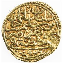 OTTOMAN EMPIRE: Suleyman I, 1520-1566, AV sultani (3.12g), Kostantiniye, AH926. VF