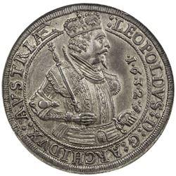 AUSTRIA: Leopold V, Archduke, 1619-1632, AR thaler, Hall mint, 1632. NGC AU58