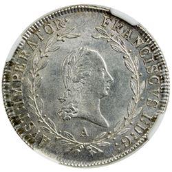 AUSTRIA: Franz I, 1804-1835, AR 20 kreuzer, 1814-A. NGC MS65