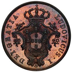 AZORES: Luis I, 1861-1889, AE 20 reis, 1866. PCGS MS64