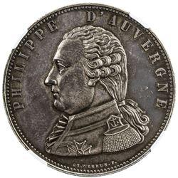 BELGIUM: Philippe d'Auvergne, medallic AR 5 francs, 1815-A. NGC MS63