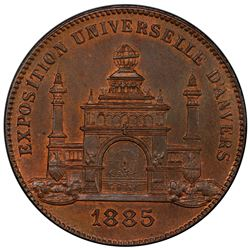 BELGIUM: AE medal, 1885. PCGS MS66