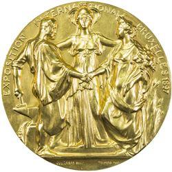 BELGIUM: AE medal (148.7g), 1897. UNC