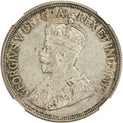 CYPRUS: George V, 1910-1936, AR 45 piastres, 1938. NGC AU53