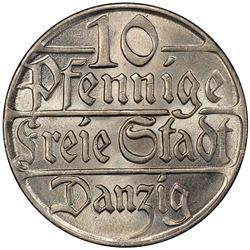 DANZIG: 10 pfennig, 1923. PCGS MS66