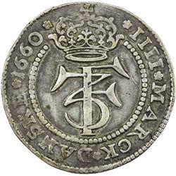 DENMARK: Frederik III, 1648-1670, AR krone (22.76g), 1660. VF