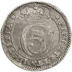 DENMARK: Christian V, 1670-1699, AR krone (4 marck), 1682. VF-EF