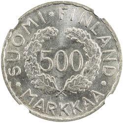 FINLAND: 500 markkaa, 1952-H. NGC MS65