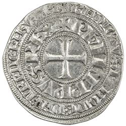 FRANCE: Philippe IV, 1285-1314, AR gros tournois a l'O long et au lis (3.90g), ND (1298?). VF