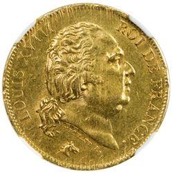 FRANCE: Louis XVIII, 1814-1824, AV 40 francs, Lille, 1818-W. NGC MS62