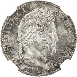 FRANCE: Louis Philippe I, 1830-1848, AR 1/4 franc, 1835-A. NGC MS65