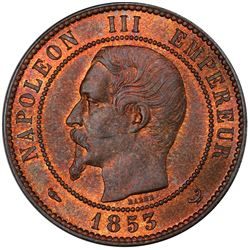 FRANCE: Napoleon III, 1852-1870, medallic 10 centimes, Paris, 1853. PCGS MS66