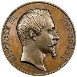 FRANCE: Napoleon III, 1852-1870, AE medal (116.5g), 1855. AU