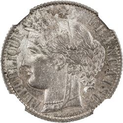 FRANCE: Third Republic, AR franc, 1872-A. NGC MS62