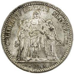 FRANCE: Third Republic, AR 5 francs, 1873-A. NGC MS65