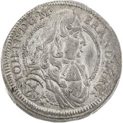 BRANDENBURG-ANSBACH: Johann Friedrich, 1667-1686, AR 1/6 thaler, 1678. PCGS MS63