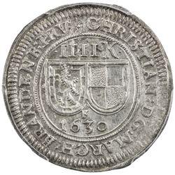 BRANDENBURG-BAYREUTH: Christian, 1603-1655, AR 4 kreuzer, 1630-F. PCGS MS63